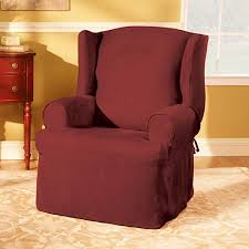 Sure Fit Club Chair Slipcovers Sure Fit Soft Suede Wing Chair Slipcover Walmart Com
