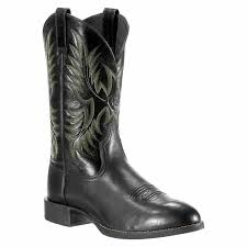 ariat western boots mens heritage stockman black deertan with