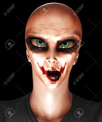 alien halloween costume a mix of an alien and psychotic clown for halloween stock photo