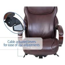 Massage Desk Chairs La Z Boy Hyland Coffee Brown Bonded Leather Executive Office Chair