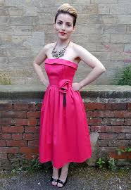 1980s bright pink corsage prom dress 1980s dresses 1980s