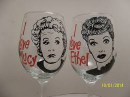 lucille ball vivian vance lucy and ethel hand painted wine