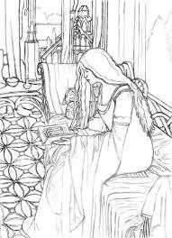 arwen reading line art by ainulaire on deviantart