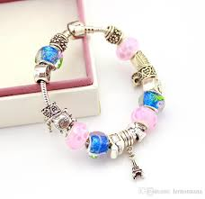european bracelet charms images European style silver plated blue glass beads bracelets for women jpg
