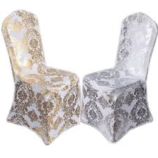 spandex chair covers wholesale suppliers 100pcs lot elastic spandex coverings gold silver metallic damask