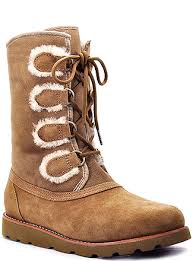 womens ugg boots with laces ugg australia rommy chestnut suede and shearling lace up