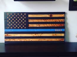 American Battle Flag Wooden American Flag Police Thin Blue Line Reclaimed Wood Burned
