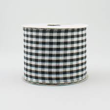 black and white wired ribbon 2 5 gingham check wired ribbon black white 10 yards