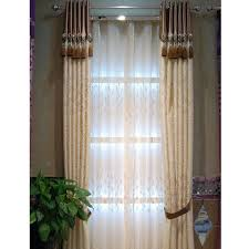 Faux Silk Embroidered Curtains Thick Faux Silk Embroidery Leaf Designer Country Curtains