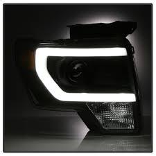 Ford Raptor Headlights - 14 ford f150 raptor style led drl projector headlights black