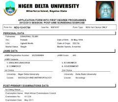 Ndu Attestation Letter niger delta ndu post jamb utme 2015 2016 form past