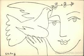 pen and ink sketch of woman holding dove with olive branch art