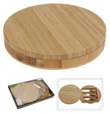 couverts en bambou planche à fromage ronde plateau fromage bambou avec couverts