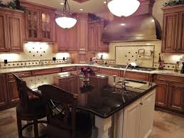 Dark Kitchen Island Cherrywood Cabinets Dark Granite White Island Cherry Wood