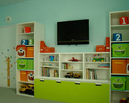 Kids Bench With Storage Cabinets Contemporary Kids Room With Mounted Tv Above Toy Storage