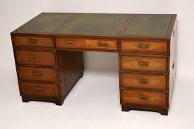 Schmaler Schreibtisch Antiker Mahagoni Militär Schreibtisch