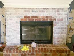 interior whitewashing brick fireplace painting red brick