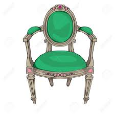 classic chair colored doodle hand drawn illustration of an