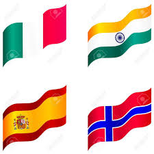 Flag Of Norway Set Of Flags Of Spain Italy Norway India Royalty Free Cliparts