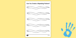 create a repeating pattern snake fingerprint activity sheet