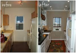 representation of small kitchen remodel before and after for