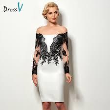 Cheap Cocktail Party Ideas - black u0026white sheath short cocktail dress long sleeves appliques