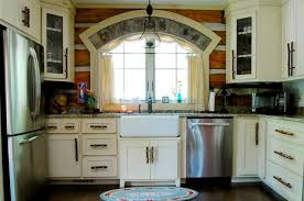 Rustic White Cabinets The Rustic Interior Design Of A Mountain Log Cabin In Alabama