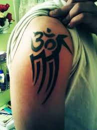 mind blowing sleeve om symbol with coolest black ink tribal