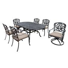 Oakland Living Mississippi Cast Aluminum Oakland Living Belmont 54 In 7 Piece Round Patio Dining Set With