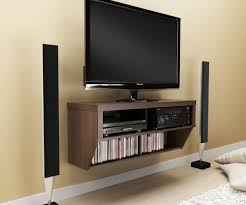 diverting wooden floated ikea tv stands with slim tv two speakers