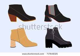 womens boots types set fashionable types womens shoes silhouette stock vector