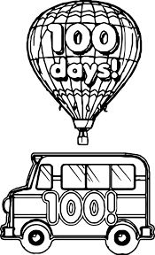 100 days bus balloon coloring page wecoloringpage
