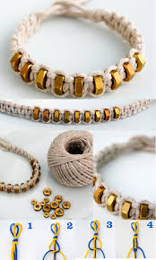 string cord bracelet images Macram square knot string hexnut bracelet bracelets craft jpg