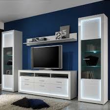 Wohnzimmerschrank Ohne Tv Fach Hochglanz Wohnwand Elegatos In Weiß Mit Led Pharao24 De