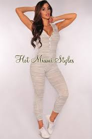 all white jumpsuits gray marled button hoodie jumpsuit