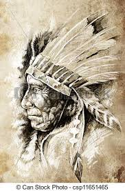 stock illustration of sketch of tattoo art native american indian