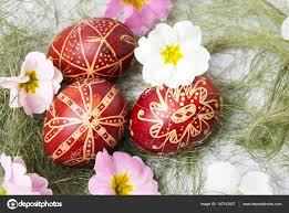 wax easter egg decorating easter eggs decorated with wax and flowers stock photo