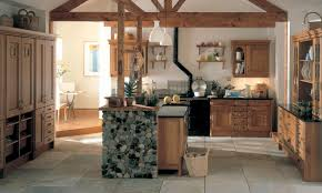 startling country kitchen designs with warm hues and rural