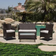 Patio Furniture Set by 4pc Rattan Wicker Patio Furniture Set Outdoor Cushioned Sofa