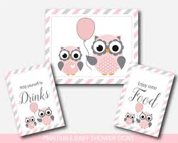 owl baby shower table signs woodland owl gift table signs pink