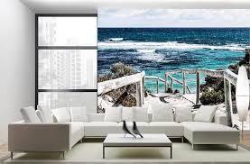 trompe l oeil chambre poster mural trompe l oeil bord de mer dune plage et fin