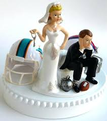 and chain cake topper football wedding cake toppers topper house divided team rivalry