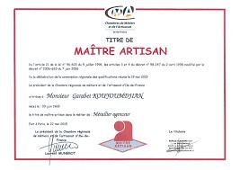chambre d artisanat le gérant obtient le titre de maitre artisan métallier agenceur