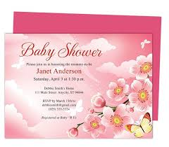 pink themed colors baby shower invitation templates for word
