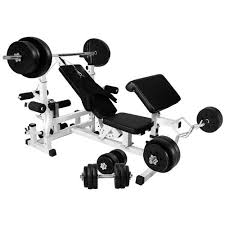 Weights And Bench Set Gorilla Sports Universal Workstation With 100kg Vinyl Weight Set