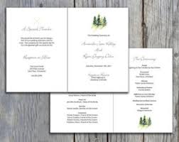 Wedding Bulletin Simple Mountain Wedding Program Cliff Wedding Program