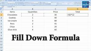 autofill and fill down formula using excel fill down to sspeed