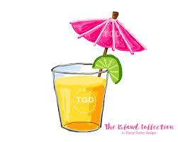 preppy cocktail with pink umbrella clip art original art
