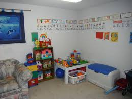 interior amusing kids playroom design with white painted wall