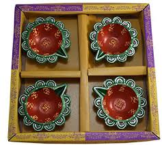 Swastik Decoration Pictures Mersk Decorative Diya For Diwali Set Of 4 With Swastik Design In